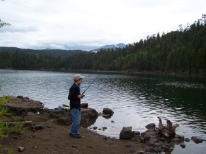 Fishing with grandchildren at a mountain lake in Southern Colorado.